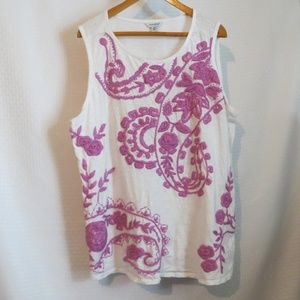 Lucky Brand Lilac Embroidered  White Tank Top 2X